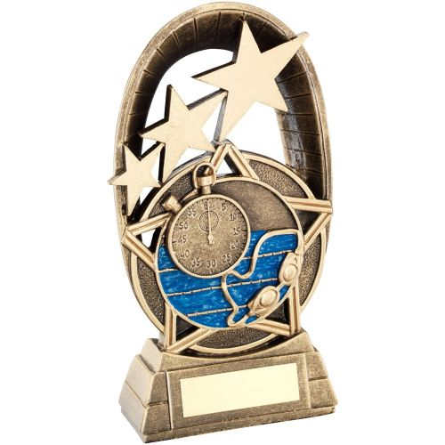 Bronze Gold Blue Swimming Tri-Star Oval Plaque Trophy - 7.25in