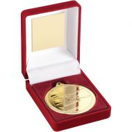 Red Velvet Box And Medal Swimming Trophy Gold 3.5in