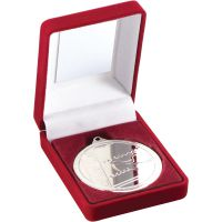 Red Velvet Box And Medal Swimming Trophy Silver 3.5in