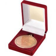 Red Velvet Box And Medal Swimming Trophy Bronze 3.5in