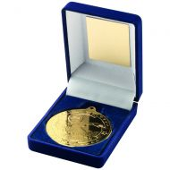 Blue Velvet Box and Gold Swimming Medal Trophy - 3.5in