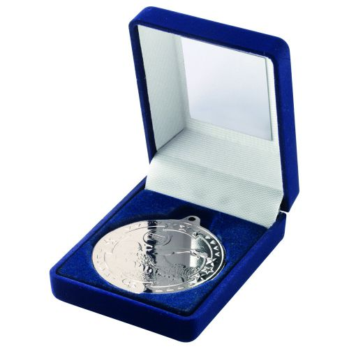 Blue Velvet Box And Silver Swimming Medal Trophy - 3.5in
