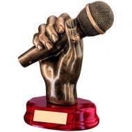 Bronze/Gold Resin Microphone in Hand Trophy - 7in