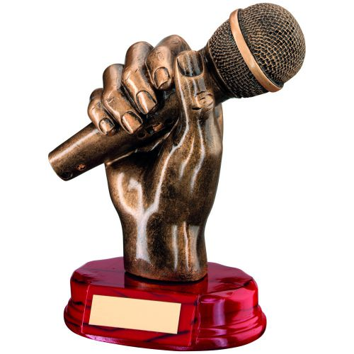 Bronze Gold Resin Microphone In Hand Trophy - 7in