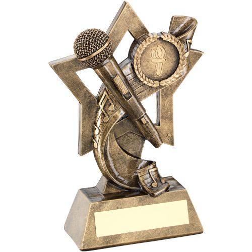 Bronze Gold Music On Star Backdrop Trophy - (1in Centre) 5.75in