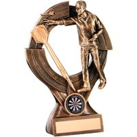 Bronze Gold Male Darts and Quartz and Figure Trophy - 8.25in