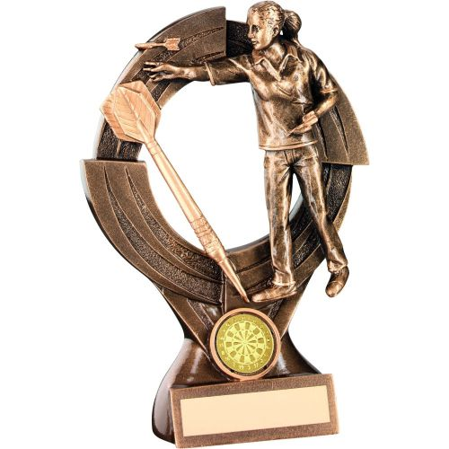 Bronze Gold Female Darts and Quartz and Figure Trophy - 8.25in