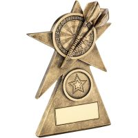 Bronze Gold Darts Star On Pyramid Base Trophy - (1in Centre) - 5in