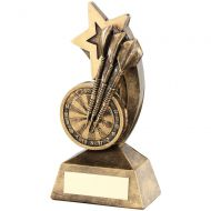 Bronze/Gold Dartboard/Darts With Shooting Star Trophy - 5.75in