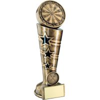Bronze Gold 3 Star Darts Column Trophy 8.25in