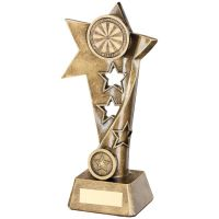 Bronze Gold Darts Twisted Star Column Trophy - (1in Centre) 9in
