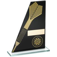 Black Gold Printed Glass Plaque With Dart Dartboard Trophy - 7.25in