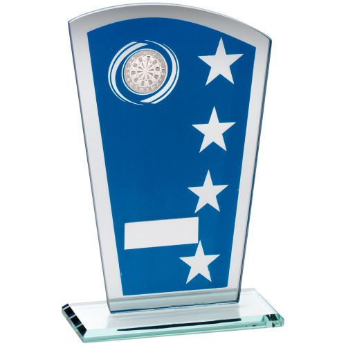 Blue Silver Printed Glass Shield Trophy Award With Darts Insert Trophy - 7.25in