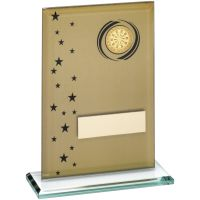 Gold Black Printed Glass Rectangle With Darts Insert Trophy - 7.5in