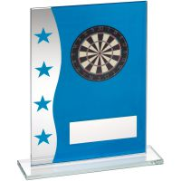 Blue Silver Printed Glass Plaque With Dartboard Image Trophy Award - 7.25in