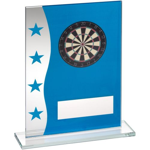 Blue Silver Printed Glass Plaque With Dartboard Image Trophy Award - 8in