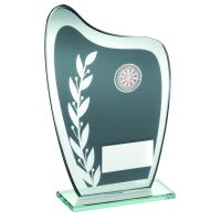 Grey Silver Glass Plaque With Darts Insert Trophy 8in
