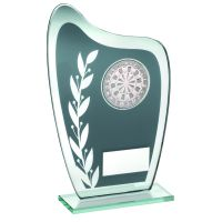 Grey Silver Glass Plaque With Darts Insert Trophy 6.5in