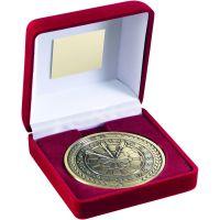 Red Velvet Box And Medal Darts Trophy Antique Gold 4in