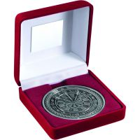 Red Velvet Box And Medal Darts Trophy Antique Silver 4in