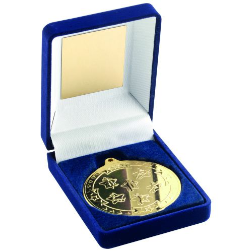 Blue Velvet Box And Gold Multi Athletics Medal Trophy - 3.5in