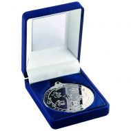 Blue Velvet Box and Silver Multi Athletics Medal Trophy - 3.5in