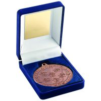 Blue Velvet Box And Bronze Multi Athletics Medal Trophy - 3.5in