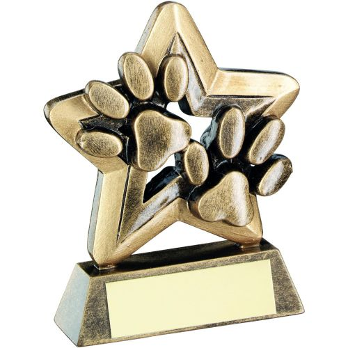 Bronze Gold Dog Paws Trophy Mini Star Trophy 3.75in