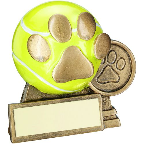 Bronze Gold Yellow 3d Mini Tennis Ball With Dog Paw Trophy 3in