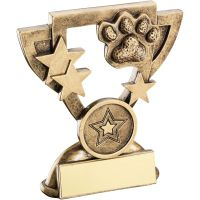 Bronze Gold Dog Paw Mini Cup Trophy Award Trophy - (1in Centre) 3.75in