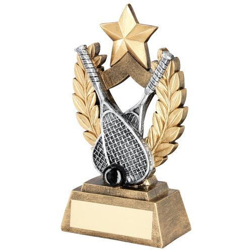 Bronze Gold Gold Pewter Black Squash Wreath Shield Trophy Award With Gold Star Trophy Award - 5.75in