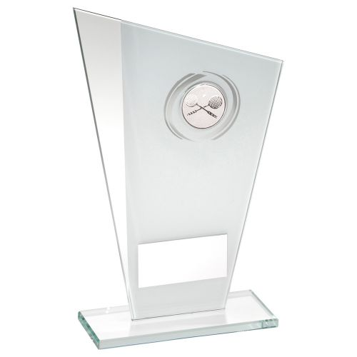 White Silver Printed Glass Plaque With Squash Insert Trophy Award - 8in