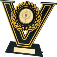 Black-Gold Plastic Plaque Trophy (2In Centre) - 5.5In (New 2014)