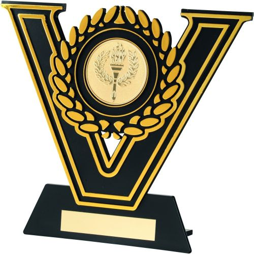 Black-Gold Plastic Plaque Trophy (2in Centre) - 6.25in (New 2014)