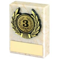 Cream Marble And Gold Trim Trophy - 3in