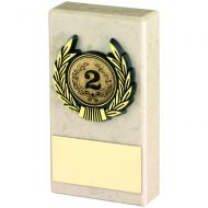 Cream Marble and Gold Trim Trophy - 4in