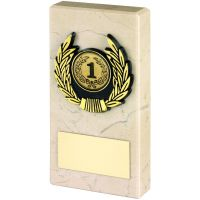 Cream Marble And Gold Trim Trophy - 5in