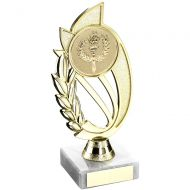 Gold Blue Plastic Holder On Marble Trophy - (2in Centre) 9in