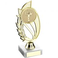 Gold Silver Plastic Holder On Marble Trophy - (2in Centre) 7in