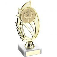 Gold Matt Silver Plastic Holder On Marble Trophy - (2in Centre) 8in