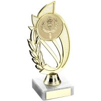 Gold Matt Silver Plastic Holder On Marble Trophy - (2in Centre) 7in