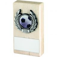 Cream Marble and Silver Trim Trophy - 4in