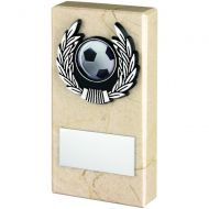 Cream Marble and Silver Trim Trophy - 5in