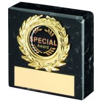 Black Marble And Gold Trim Trophy - 2.5in