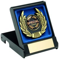Black Red Plastic Box And Gold Trim Trophy - 3.5in