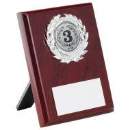 Rosewood Plaque and Silver Trim Trophy - 4in
