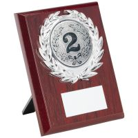 Rosewood Plaque And Silver Trim Trophy (2in Centre) - 5in