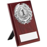 Rosewood Plaque And Silver Trim Trophy (2in Centre) - 6in