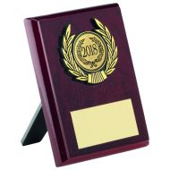 Rosewood Plaque and Gold Trim Trophy - 4in