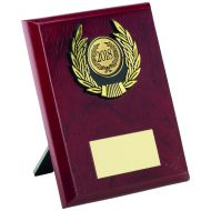 Rosewood Plaque And Gold Trim Trophy - 5in